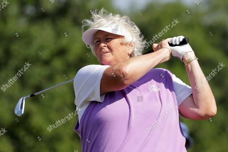 Laura Davies of England, watches her shot off the 13th tee during the first round of the U.S. Women's Open golf tournament, in Charleston, S.C