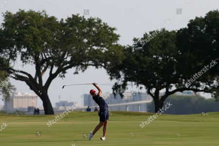 Jane Park swings on the fifth hole during the first round of the U.S. Women's Open golf tournament, in Charleston, S.C