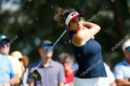 Gerina Piller hits the ball of the seventh tee during the first round of the U.S. Women's Open golf tournament, in Charleston, S.C