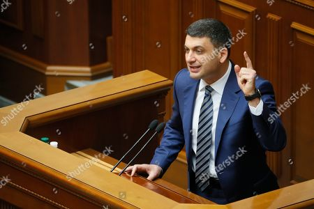 Ukrainian Prime Minister Volodymyr Groysman speaks to lawmakers during a Parliament session in Kiev, Ukraine, 30 May 2019, as deputies discuss his resignation. The Ukrainian parliament voted to reject Prime Minister Groysman's resignation arguing that his stepping down would lead to chaos before the country's snap elections expected in 21 July 2019. Groysman presented his resignation following President Volodymyr Zelenskiy's inauguration on 20 May 2019.