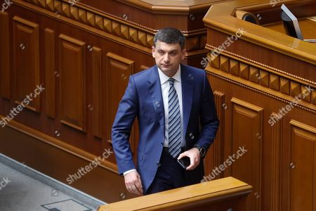 Stock Picture of Ukrainian Prime Minister Volodymyr Groysman approaches the podium to address lawmakers during a Parliament session in Kiev, Ukraine, 30 May 2019, as deputies discuss his resignation. The Ukrainian parliament voted to reject Prime Minister Groysman's resignation arguing that his stepping down would lead to chaos before the country's snap elections expected in 21 July 2019. Groysman presented his resignation following President Volodymyr Zelenskiy's inauguration on 20 May 2019.