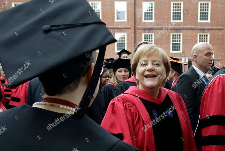 Angela Merkel, Huda Zoghbi, James Earl Jones, Mark Zuckerberg. German Chancellor Angela Merkel greets graduating Harvard students as she walks in a procession though Harvard Yard at the start of Harvard University commencement exercises, in Cambridge, Mass