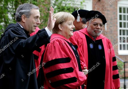 Lawrence Bacow, Angela Merkel, Lonnie Bunch III, Huda Zoghbi, James Earl Jones, Mark Zuckerberg. Harvard President Lawrence Bacow, left, German Chancellor Angela Merkel, center, and historian Lonnie Bunch III, right, prepare to join a procession though Harvard Yard at the start of Harvard University commencement exercises, in Cambridge, Mass
