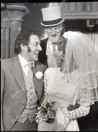 Television Programme Steptoe And Son - 28th October 1971 - Harold Steptoe (harry H. Corbett Left Dead 3/1982) Marries Stripper Zita Smith (carolyn Seymour) With Albert (wilfrid Brambell) Looking On. ...comedian