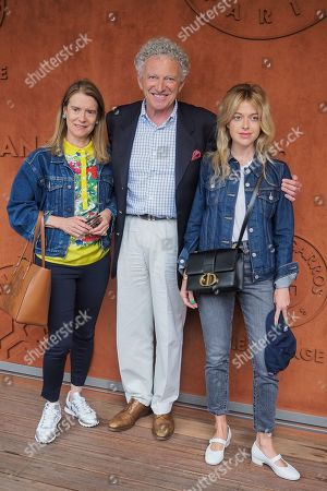 Stock Photo of Nelson Monfort with his wife Dominique Monfort and their daughter Victoria Monfort