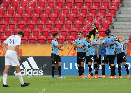 Stock Image of Uruguay's Paul Rodriguez celebrates with teammates after scoring his side's second goal during the Group C U20 World Cup soccer match between New Zealand and Uruguay, in Lodz, Poland