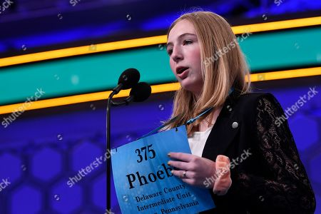 Stock Image of Phoebe Smith, 13, of Aston, Pa., competes in the finals of the Scripps National Spelling Bee in Oxon Hill, Md., . Smith did not spell her word correctly and was eliminated from the competition