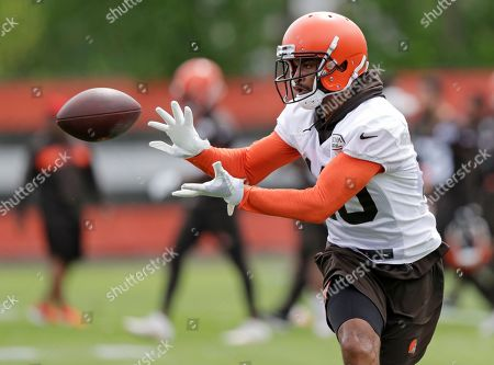 Cleveland Browns wide receiver Jaelen Strong catches a pass during an NFL football organized team activity session at the team's training facility, in Berea, Ohio