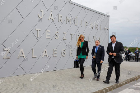 International Automobile Federation (FIA) president Jean Todt (C) walks with Hungarian Minister of Innovation and Technology Laszlo Palkovics (R) and State Secretaryin Charge of Sport Tunde Szabo of the Hungarian Ministry of Human Resources to the entrance of the main building of the vehicle test track in Zalaegerszeg, Hungary, 30 May 2019. Minister Palkovics said the government would like to prolong the the F1 Hungarian GP races as well as to invite the race of new generation Formula E cars to Hungary.