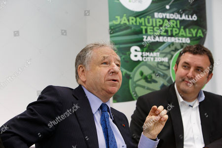 International Automobile Federation (FIA) president Jean Todt (L) speaks as Hungarian Minister of Innovation and Technology Laszlo Palkovics looks on during a press briefing at the vehicle test track in Zalaegerszeg, Hungary, 30 May 2019. Minister Palkovics said the government would like to prolong the the F1 Hungarian GP races as well as to invite the race of new generation Formula E cars to Hungary.