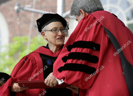 Huda Zoghbi,James Earl Jones,Mark Zuckerberg. Anthropologist Marilyn Strathern, left, is presented with an honorary Doctor of Laws degree by Vice President and Secretary of Harvard University Marc Goodheart, right, during Harvard University commencement exercises, on the schools campus, in Cambridge, Mass