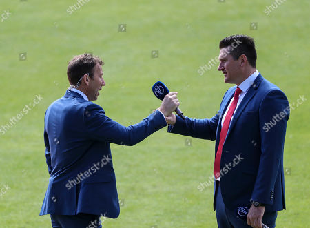LONDON, ENGLAND. 30 MAY Former England captain Michael Atherton and former South Africa captain Graham Smith during the England v South Africa, ICC Cricket World Cup match, at the Kia Oval, London, England