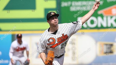 Stock Picture of Long Island Duck's pitcher Alex Katz pitches against the Sugar Land Skeeters during an Atlantic League of Professional Baseball game on in Central Islip, N.Y