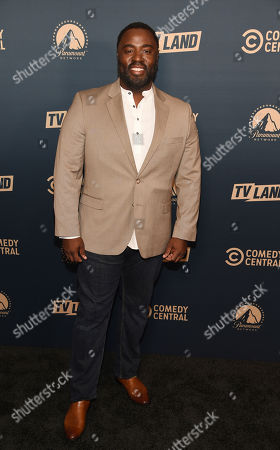 """Bashir Salahuddin, a cast member in the Comedy Central television series """"South Side,"""" poses at the Paramount Network, Comedy Central, TV Land Press Day 2019 at the London West Hollywood, in West Hollywood, Calif"""