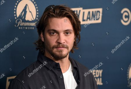 """Stock Picture of Luke Grimes, a cast member in the Paramount Network television series """"Yellowstone,"""" poses at the Paramount Network, Comedy Central, TV Land Press Day 2019 at the London West Hollywood, in West Hollywood, Calif"""