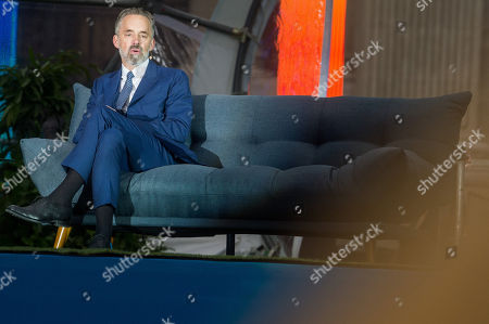 Canadian psychologist Jordan Peterson (R) speaks on a stage in front of St. Stephen Basilica during Brain Bar Future Festival in Budapest, Hungary, 30 May 2019.