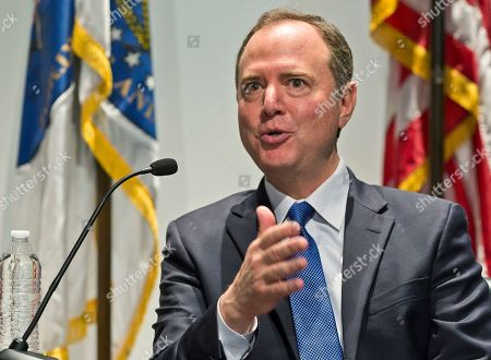 """Rep. Adam Schiff speaks at a conversation session with Los Angeles City Attorney Mike Feuer, titled """"A Constitutional Clash: A Separation of Powers In A Tumultuous Time,"""" at Los Angeles Police Headquarters . House Speaker Nancy Pelosi still isn't ready to impeach President Donald Trump. Rep. Adam Schiff, chairman of the House intelligence committee, said Thursday in California he's not urging impeachment yet, """"though the president seems to be doing everything in his power to get me there."""" Schiff warned that impeachment is not a """"cure all."""" He said, """"Impeachment doesn't remove this president. There is only one way to remove this president, and that's by voting him out of office"""