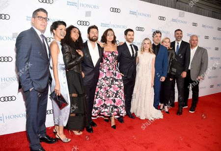 "D.J. Nash, Grace Park, Christina Moses, James Roday, Christina Ochoa, David Giuntoli, Allison Miller, Ron Livingston, James Griffiths, Aaron Kaplan. D.J. Nash, Creator/ Executive Producer, Grace Park, from left, Christina Moses, James Roday, Christina Ochoa, David Giuntoli, Allison Miller, Ron Livingston, James Griffiths, Director/Executive Producer, and Aaron Kaplan, Executive Producer, from ""A Million Little Things"" arrive at the 12th Annual Television Academy Honors, at the Beverly Wilshire Hotel in Los Angeles"