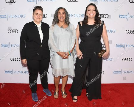 """Viridiana Lieberman, Geeta Gandbhir, Trish Adlesic. Viridiana Lieberman, from left, Geeta Gandbhir, Director, and Trish Adlesic, Director, from """"I Am Evidence"""" arrive at the 12th Annual Television Academy Honors, at the Beverly Wilshire Hotel in Los Angeles"""