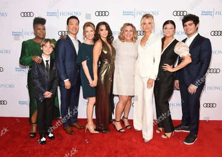 "Stock Picture of Kelly Park, Finn Carr, Eddie Shin, Jolie Jenkins, Paris Berelc, Heather Wordham, Isabel May, Tiffani Thiessen, Emery Kelly. Kelly Park, Director, from left, Finn Carr, Eddie Shin, Jolie Jenkins, Paris Berelc, Heather Wordham, Creator, Isabel May, Tiffani Thiessen and Emery Kelly of ""Alexa & Katie,"" arrive at the 12th Annual Television Academy Honors, at the Beverly Wilshire Hotel in Los Angeles"