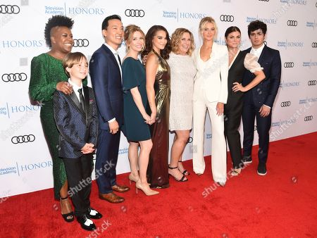 """Kelly Park, Finn Carr, Eddie Shin, Jolie Jenkins, Paris Berelc, Heather Wordham, Isabel May, Tiffani Thiessen, Emery Kelly. Kelly Park, Director, from left, Finn Carr, Eddie Shin, Jolie Jenkins, Paris Berelc, Heather Wordham, Creator, Isabel May, Tiffani Thiessen and Emery Kelly of """"Alexa & Katie,"""" arrive at the 12th Annual Television Academy Honors, at the Beverly Wilshire Hotel in Los Angeles"""