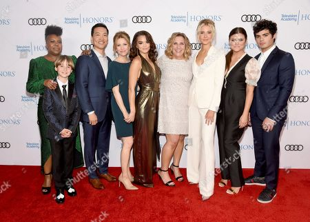 "Kelly Park, Finn Carr, Eddie Shin, Jolie Jenkins, Paris Berelc, Heather Wordham, Isabel May, Tiffani Thiessen, Emery Kelly. Kelly Park, Director, from left, Finn Carr, Eddie Shin, Jolie Jenkins, Paris Berelc, Heather Wordham, Creator, Isabel May, Tiffani Thiessen and Emery Kelly of ""Alexa & Katie,"" arrive at the 12th Annual Television Academy Honors, at the Beverly Wilshire Hotel in Los Angeles"