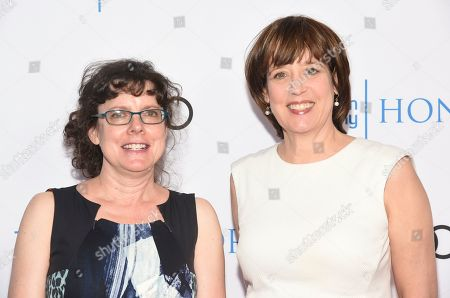 """Betsy West, Julie Cohen. Betsy West, Director/Producer, left, and Julie Cohen, Director/Producer, of """"RBG,"""" arrive at the 12th Annual Television Academy Honors, at the Beverly Wilshire Hotel in Los Angeles"""