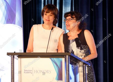 """Julie Cohen, Betsy West. Julie Cohen, Director/Producer, left, and Betsy West, Director/Producer, accept the Television Academy Honors Award for """"RBG,"""" at the 12th Annual Television Academy Honors, at the Beverly Wilshire Hotel in Los Angeles"""
