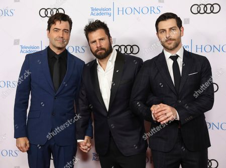 """Ron Livingston, James Roday, David Giuntoli. Ron Livingston, from left, James Roday and David Giuntoli from """"A Million Little Things"""" arrive at the 12th Annual Television Academy Honors, at the Beverly Wilshire Hotel in Los Angeles"""