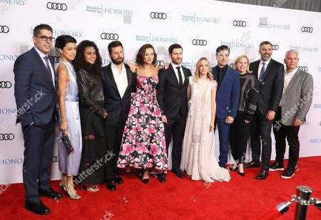 "D.J. Nash, Grace Park, from left, Christina Moses, James Roday, Christina Ochoa, David Giuntoli, Allison Miller, Ron Livingston, James Griffiths, Aaron Kaplan. D.J. Nash, Creator/ Executive Producer, Grace Park, from left, Christina Moses, James Roday, Christina Ochoa, David Giuntoli, Allison Miller, Ron Livingston, James Griffiths, Director/Executive Producer, and Aaron Kaplan, Executive Producer, from ""A Million Little Things"" arrive at the 12th Annual Television Academy Honors, at the Beverly Wilshire Hotel in Los Angeles"