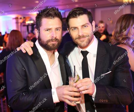 """James Roday, David Giuntoli. James Roday, left, and David Giuntoli from """"A Million Little Things"""" arrive at the 12th Annual Television Academy Honors, at the Beverly Wilshire Hotel in Los Angeles"""