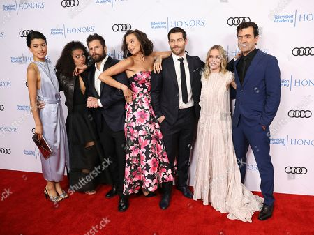 "Grace Park, from left, Christina Moses, James Roday, Christina Ochoa, David Giuntoli, Allison Miller, Ron Livingston. Grace Park, from left, Christina Moses, James Roday, Christina Ochoa, David Giuntoli, Allison Miller and Ron Livingston from ""A Million Little Things"" arrive at the 12th Annual Television Academy Honors, at the Beverly Wilshire Hotel in Los Angeles"