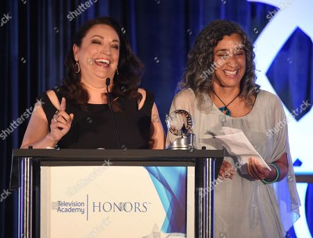 Stock Photo of Co-directors Trish Adlesic, left, and Geeta Gandbhir accept the Television Academy Honors award for 'I Am Evidence'