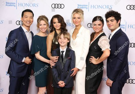 "Stock Image of Eddie Shin, Jolie Jenkins, Paris Berelc, Finn Carr, Isabel May, Tiffani Thiessen, Emery Kelly. Eddie Shin, from left, Jolie Jenkins, Paris Berelc, Finn Carr, Isabel May, Tiffani Thiessen and Emery Kelly from ""Alexa & Katie,"" arrive at the 12th Annual Television Academy Honors, at the Beverly Wilshire Hotel in Los Angeles"