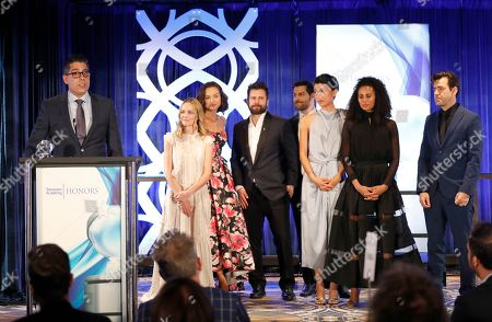 "D.J. Nash, Grace Park, Christina Moses, James Roday, Christina Ochoa, David Giuntoli, Allison Miller, Ron Livingston. D.J. Nash, Creator/Executive Producer of ""A Million Little Things,"" left, accepts the Television Academy Honors Award with the cast on stage at the 12th Annual Television Academy Honors, at the Beverly Wilshire Hotel in Los Angeles"