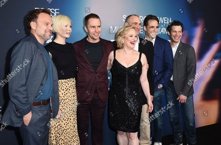"From left, Norbert Leo Butz, Michelle Williams, Sam Rockwell, Nicole Fosse, Joel Fields, Steven Levenson, and Thomas Kail arrive at the FYC Event for ""Fosse/Verdon"" at Samuel Goldwyn Theater, in Beverly Hills, Calif"