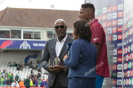 Sir Viv Richards ready to present the man of the match award at the ICC Cricket World Cup 2019 match between West Indies and Pakistan at Trent Bridge, West Bridgford