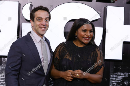 """BJ Novak, Mindy Kaling. BJ Novak and Mindy Kaling attend the premiere of """"Late Night"""" at the Orpheum Theatre, in Los Angeles"""