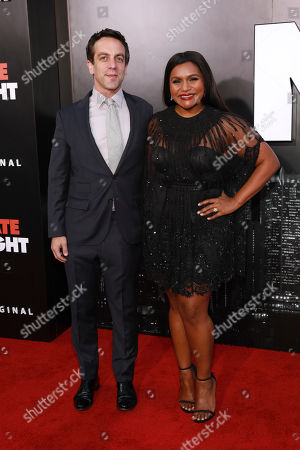 """Mindy Kaling, BJ Novak. Mindy Kaling and BJ Novak attends the premiere of """"Late Night"""" at the Orpheum Theatre, in Los Angeles"""