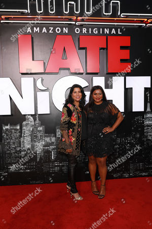 """Nisha Ganatra, Mindy Kaling. Nisha Ganatra and Mindy Kaling attend the premiere of """"Late Night"""" at the Orpheum Theatre, in Los Angeles"""