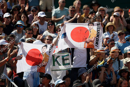 Supporters show their support for Japan's Kei Nishikori in his third round match of the French Open tennis tournament against Serbia's Laslo Djere at the Roland Garros stadium in Paris