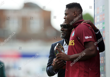 Sir Viv Richards with man of the match Oshane Thomas of West Indies at the end of the game