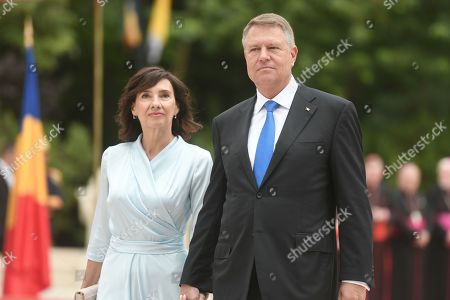 Romanian President Klaus Iohannis and wife Carmen Georgeta Lazurca at the Cotroceni Presidential Palace, Bucharest