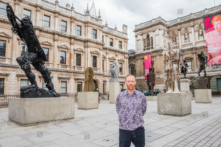Thomas Houseago with his installation of six sculptures which have been installed in the RA's Annenberg Courtyard as part of the Summer Exhibition which opens to the public at the Royal Academy of Arts on 10 June 2019.