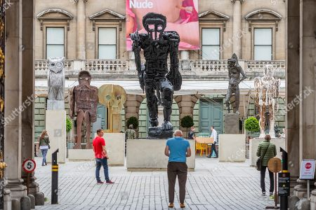 Thomas Houseago's installation of six sculptures which have been installed in the RA's Annenberg Courtyard as part of the Summer Exhibition which opens to the public at the Royal Academy of Arts on 10 June 2019.