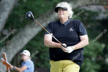 Laura Davies of England, watches her shot on the 15th tee during the second round of the U.S. Women's Open golf tournament, in Charleston, S.C