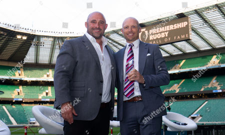 Stock Image of Premiership Rugby Hall of Fame inductee, Matt Dawson with host David Flatman