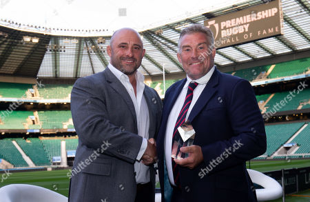 Premiership Rugby Hall of Fame inductee, Jason Leonard with host David Flatman