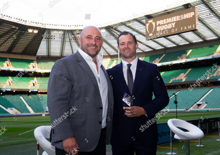 Premiership Rugby Hall of Fame inductee,  Nick Evans with host David Flatman