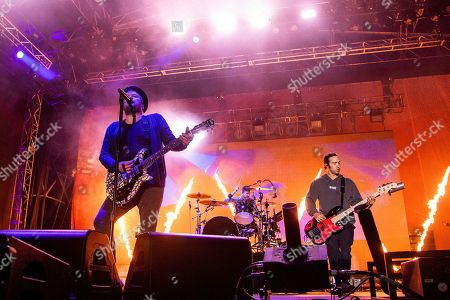 Joe Trohman, Patrick Stump, Pete Wentz. Joe Trohman, from left, Patrick Stump and Pete Wentz of Fall Out Boy performs at the Bunbury Music Festival, in Cincinnati